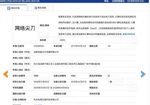 网络尖刀成功注册商标正式交由知娱团队运营