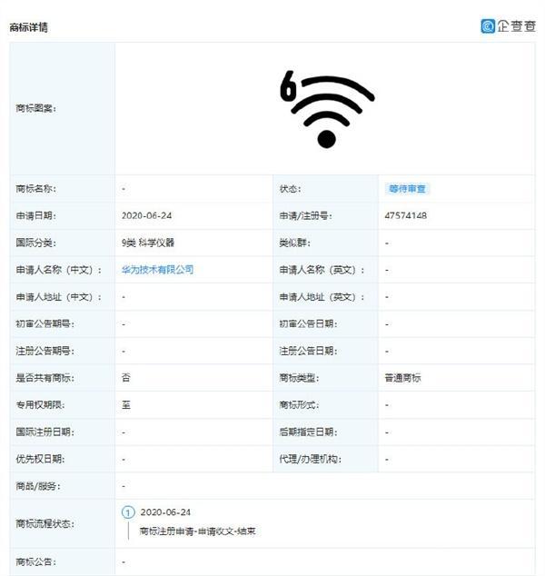 Wi-Fi 6商标已被华为注册!