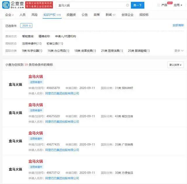 """盒马火锅再次回归,申请""""盒马火锅""""商标"""
