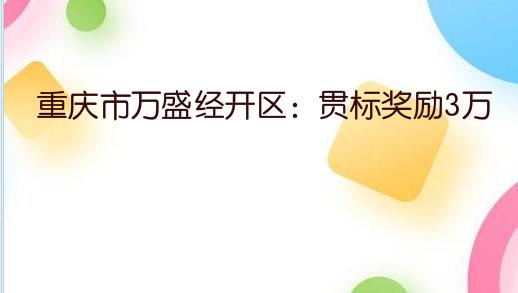 重庆市万盛经开区:专利资助2万,贯标奖励3万