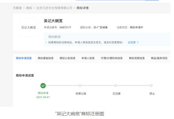 为防止抢注,吴亦凡工作室已注册商标:吴记大碗宽