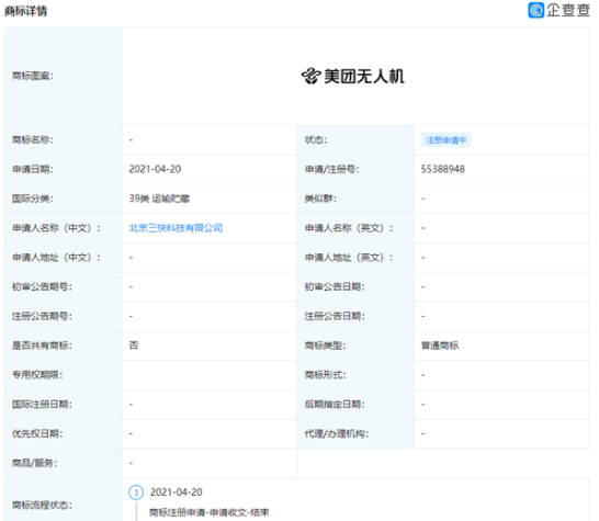 """北京三快科技有限公司申请注册""""美团无人机""""商标"""