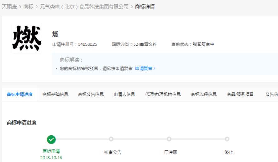 2021年5月25日元气森林燃商标因与蒙牛、统一相似被驳回