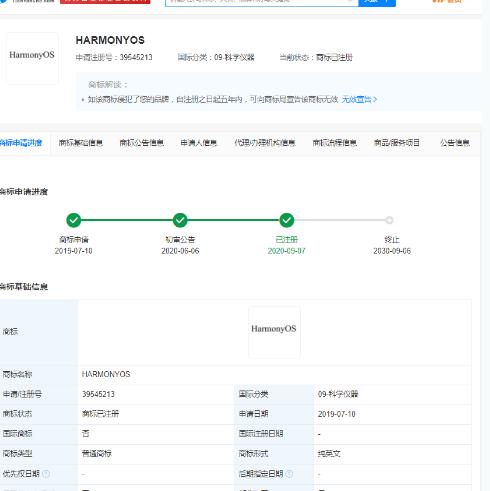 2021年5月25日华为EMUI微博更名HarmonyOS,相关商标最早申请于2019年