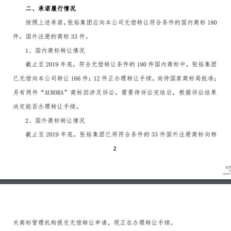 """""""张裕""""商标权属之争:集团已转让166件至张裕A"""