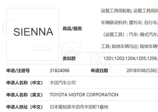丰田sienna终于要国产了!商标已注册,落户广汽丰田