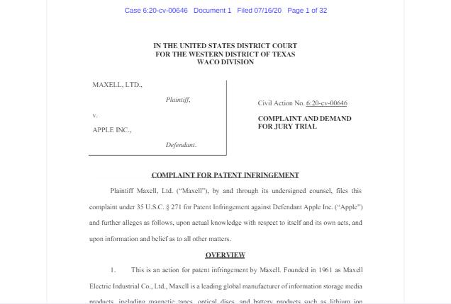 Maxell再次提起诉讼,指控苹果的Wi-Fi助理等功能侵犯其专利