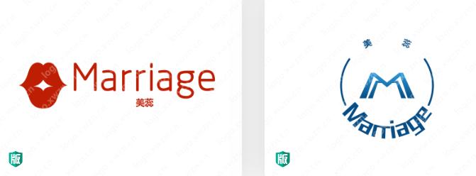 "英文婚礼Logo设计:""Marriage""——美蕊"