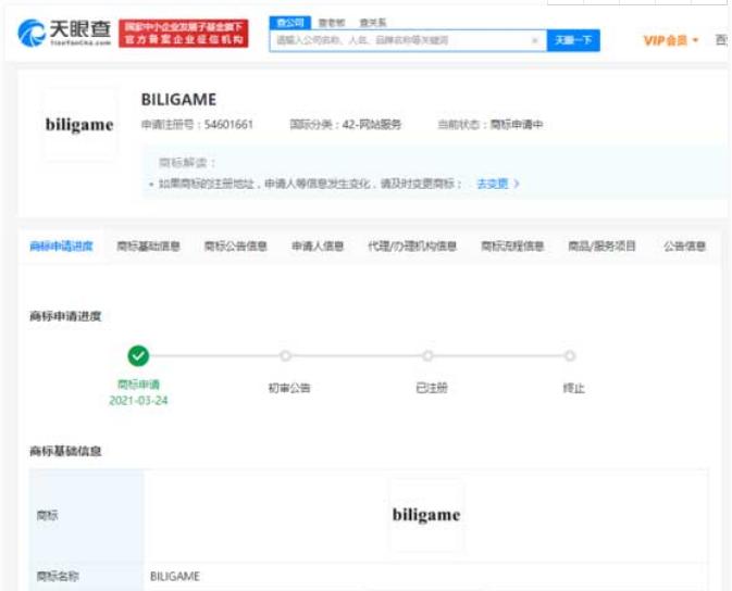 """B站关联公司上海幻电申请注册""""BILIGAME""""商标"""