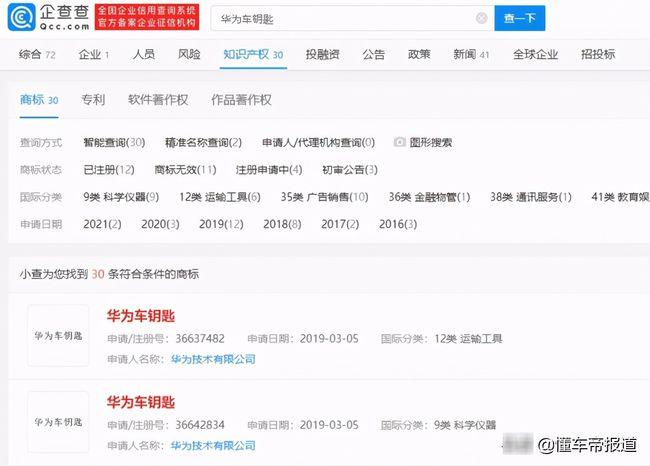 """2021年6月8日曾被抢先注册的""""华为汽车""""商标被驳回"""
