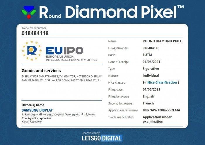 """2021年6月3日三星向欧盟、英国和韩国知识产权局(KIPO)提交""""Round Diamond Pixel""""商标注册申请"""