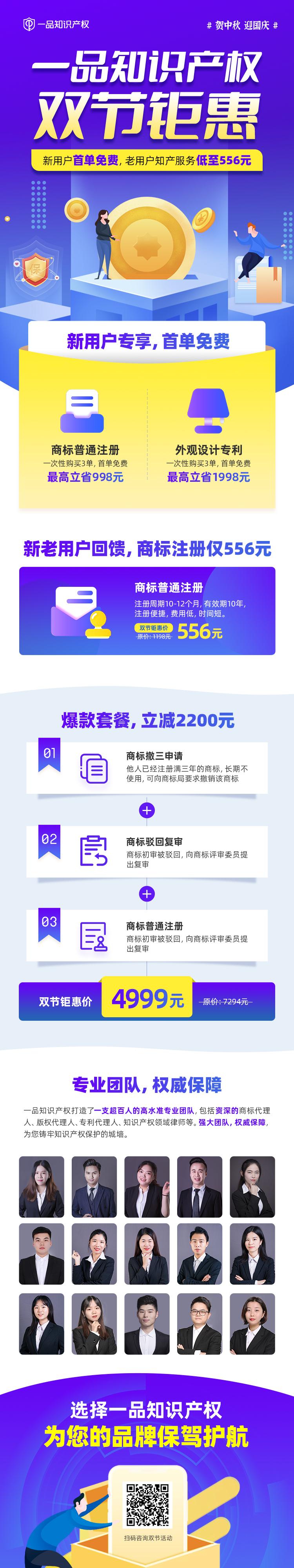 【一品知识产权】双节钜惠!注册商标有礼,新用户首单免费+老用户低至556元!